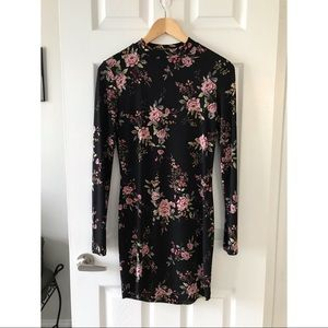 Floral Print Bodycon Long Sleeve Dress Forever 21